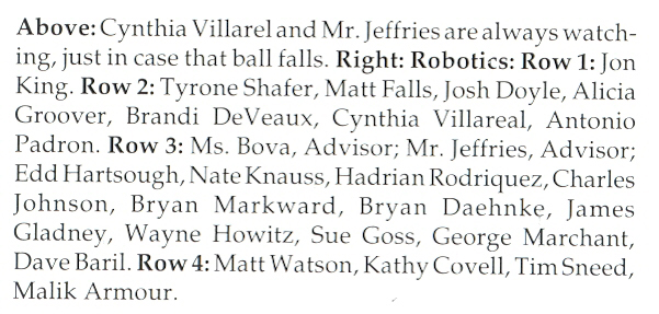 2001 RV Robotics Team Names